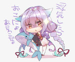 1girl angry braid chibi detached_sleeves hair_ribbon holding holding_stuffed_animal looking_at_viewer okou_(oshiro_project) oshiro_project oshiro_project_re purple_hair ribbon shaneru solo stuffed_animal stuffed_toy stuffed_whale translated twin_braids white_background yellow_eyes