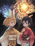 2girls adapted_costume animal_ears bangs bionekojita black_hair black_sky closed_mouth commentary eye_contact feathers fireworks hair_between_eyes hair_feathers holding japanese_clothes kaban_(kemono_friends) kemono_friends kimono long_sleeves looking_at_another multiple_girls night night_sky open_mouth outdoors print_kimono red_kimono sash serval_(kemono_friends) serval_ears serval_print short_hair sky smile tree watch wide_sleeves wristwatch