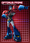 1boy autobot blue_eyes character_name full_body grid grid_background headgear insignia looking_away looking_to_the_side machinery mecha no_humans optimus_prime paintedmike pointing red_background solo transformers transformers_animated