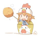 1girl :d alternate_costume animal_hat artist_name blush_stickers brown_hair chibi chicken_(food) chicken_hat commentary employee_uniform folded_ponytail food hair_ornament hairclip hanomido hat inazuma_(kantai_collection) kantai_collection lawson minigirl open_mouth simple_background smile solid_eyes solo toothpick uniform white_background  _ 