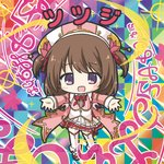 1girl :d bikkuriman bikkuriman_(style) blush bow brown_hair character_name chibi collared_shirt colorful flower flower_knight_girl full_body hair_flower hair_ornament hat iridescent jacket long_hair looking_at_viewer multicolored multicolored_background open_clothes open_jacket open_mouth outstretched_arms parody pink_footwear pink_jacket pleated_skirt purple_eyes red_bow red_flower rinechun shirt shoes skirt smile solo sticker style_parody thighhighs tsutsuji_(flower_knight_girl) two_side_up white_headwear white_legwear white_shirt white_skirt