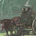 1boy artist_request beard cart engrish facial_hair fantasy gandalf hat horse long_sleeves lord_of_the_rings lowres male_focus medieval old_man pullcart ranguage reins robe smoke solo staff wizard wizard_hat