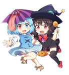2girls :d bangs basket black_dress black_hair black_hat black_legwear blue_eyes blue_hair blue_skirt blue_vest blush bow bowtie breasts brown_footwear candy caramell0501 center_frills chibi commentary_request dress eyebrows_visible_through_hair food geta halloween hand_up hat heterochromia holding holding_basket holding_food houjuu_nue juliet_sleeves leg_up lollipop long_sleeves medium_breasts multiple_girls open_mouth puffy_sleeves purple_umbrella red_bow red_eyes red_footwear red_neckwear shirt shoes short_dress short_hair short_sleeves simple_background skirt skirt_set smile star tatara_kogasa thighhighs thighs tongue tongue_out touhou ufo vest white_background white_shirt witch_hat zettai_ryouiki