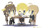 3girls ahoge black_eyes blonde_hair brown_hair chameleon_man_(three) chibi crossed_legs crossover cup darjeeling detached_sleeves drinking girls_und_panzer holding kantai_collection kongou_(kantai_collection) long_hair looking_at_viewer lynette_bishop multiple_crossover multiple_girls nontraditional_miko one_eye_closed school_uniform sitting strike_witches teacup