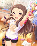 1girl :o arm_up armpits bike_shorts blush book bottle breasts chair clothes_writing dutch_angle english eraser fang folding_chair foreshortening from_above gem glint grey_hair heart holding idolmaster idolmaster_cinderella_girls indoors jpeg_artifacts koseki_reina lace leg_lift long_hair looking_at_viewer marker official_art open_book open_mouth purple_eyes shirt shoes short_sleeves sidelocks small_breasts sneakers solo standing standing_on_one_leg star star_print t-shirt v v-shaped_eyebrows v_over_eye very_long_hair wand wavy_mouth white_shirt wooden_floor wristband