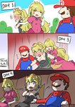 1boy 2girls bare_shoulders black_dress blonde_hair blue_earrings blue_eyes blush blush_stickers bowsette cabbie_hat comic dress engrish faceless hand_on_another's_hand hat horns long_hair mario mario_(series) movie_theater multiple_girls nervous new_super_mario_bros._u_deluxe nose_blush outdoors overalls photo_booth pink_dress ponytail princess_peach ranguage red_shirt sesield shirt short_hair strapless strapless_dress super_crown