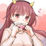 1girl akoya_(anoko_konoko) beige_sweater brown_eyes brown_hair commentary_request heart heart_hands horns kantai_collection kisaragi_(kantai_collection) long_hair lowres multicolored multicolored_background oni_horns ribbed_sweater smile solo sweater twitter_username upper_body