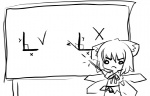 1girl angry artist_request chalkboard chibi cirno diagram frown greyscale math monochrome o_o science sketch solo source_request touhou truth wings