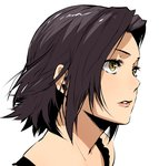 1girl absurdres baccano! black_hair chane_laforet enami_katsumi eyelashes face highres lips parted_lips portrait short_hair solo white_background yellow_eyes