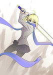 1girl absurdres ahoge blonde_hair excalibur fate/stay_night fate_(series) green_eyes highres jacket pantyhose saber scarf solo sword thec weapon