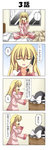 1girl 4koma anger_vein blonde_hair cellphone comic hat highres kirisame_marisa pajamas phone rappa_(rappaya) solo touhou translated witch_hat