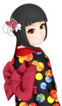 1girl bangs black_hair blunt_bangs enma_ai flower gaixas1 hair_flower hair_ornament highres japanese_clothes jigoku_shoujo kimono long_hair red_eyes solo transparent_background
