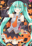 1girl acrylic_paint_(medium) blue_hair candy detached_sleeves fujiwara_minaho green_hair hair_ribbon halloween hat hatsune_miku highres jack-o'-lantern lollipop long_hair marker_(medium) necktie night open_mouth ribbon skirt solo star striped striped_legwear swirl_lollipop thighhighs traditional_media twintails very_long_hair vocaloid witch_hat yowane_haku