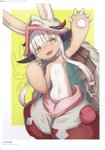 1other 2d absurdres animal_ears bangs blush ears_through_headwear flat_chest fur furry hat highres long_hair looking_at_viewer made_in_abyss nanachi_(made_in_abyss) pouch scan solo whiskers white_hair yellow_eyes