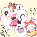 1boy amano_keita animal_ears blush brown_hair cat cat_ears cat_paws cat_tail closed_eyes crossdressing fake_animal_ears from_behind ghost gloves hairband haramaki jibanyan looking_back mei_(maysroom) multiple_tails nyaakb open_mouth paw_gloves paws purple_lips short_hair short_sleeves simple_background skirt tail translation_request two_tails whisper_(youkai_watch) youkai youkai_watch