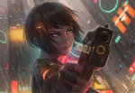 1girl aiming_at_viewer black_hair blue_eyes close-up commentary cyberpunk english_commentary eyebrows fingerless_gloves flying_car gloves gun guweiz hair_ornament hairclip handgun holding holding_gun holding_weapon ilya_kuvshinov_(style) lips neon_lights neon_trim nose original pistol rain science_fiction serious short_hair solo spinner very_short_hair weapon