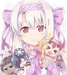 ! /\/\/\ 1boy 4girls :d >_< ? ainu_clothes bangs berserker black_hair blonde_hair blush bow chibi closed_eyes closed_mouth commentary_request dark_skin dark_skinned_male eyebrows_visible_through_hair facing_viewer fang fate/grand_order fate/stay_night fate_(series) fingerless_gloves gloves hair_between_eyes hair_bow hairband horns ibaraki_douji_(fate/grand_order) ibaraki_douji_(swimsuit_lancer)_(fate) illyasviel_von_einzbern light_brown_hair long_hair long_sleeves looking_at_viewer minigirl mochizuki_chiyome_(fate/grand_order) multiple_girls o_o oni oni_horns open_mouth pink_hairband purple_bow purple_gloves red_eyes rioshi shuten_douji_(fate/grand_order) shuten_douji_(halloween_caster)_(fate) sidelocks sitonai sleeves_past_wrists smile snowflakes wavy_mouth xd