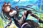 1girl air_bubble animal_ears bangs blurry blurry_background bodysuit breasts brown_hair bubble consensual_tentacles covered_navel damao_yu day eyebrows_visible_through_hair fish floating_hair highres imaizumi_kagerou impossible_bodysuit impossible_clothes jewelry large_breasts legs_apart long_hair looking_at_viewer multicolored_hair pendant red_eyes skin_tight smile solo streaked_hair tail tentacles touhou underwater wetsuit wolf_ears wolf_tail