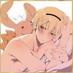 1boy blonde_hair blush bow brown_eyes fire_emblem fire_emblem_if hairband kero_sweet leon_(fire_emblem_if) male_focus nipples shirtless solo stuffed_animal stuffed_toy white_background