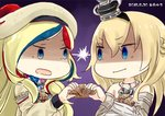 2girls artist_logo beret big_head blonde_hair blue_eyes blue_hair braid chibi commandant_teste_(kantai_collection) commentary crown dated dress flower french_braid gradient gradient_background hat hinata_yuu jewelry kantai_collection long_hair long_sleeves mini_crown multicolored multicolored_clothes multicolored_hair multicolored_scarf multiple_girls necklace no_sclera off-shoulder_dress off_shoulder plaid plaid_scarf pom_pom_(clothes) purple_background red_flower red_hair red_ribbon red_rose ribbon rose scallop scarf shaded_face shell staring streaked_hair tilted_headwear upper_body v-shaped_eyebrows warspite_(kantai_collection) white_dress white_hair