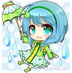 1girl :d aqua_eyes backpack bag bangs blue_background blue_hair blush boots bow bowtie braid chibi commentary_request dress eyebrows_visible_through_hair frilled_sleeves frills frog full_body green_dress green_footwear green_hairband green_neckwear green_umbrella hair_between_eyes holding holding_umbrella long_sleeves looking_at_viewer low_twintails open_mouth outstretched_arm polka_dot polka_dot_background rubber_boots shironeko_project smile solo tsuyuha_(shironeko_project) twin_braids twintails twitter_username umbrella water_drop wide_sleeves yukiyuki_441