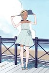 aqua_hair bare_arms beach blue_sky blush cloud day dress eureka eureka_seven eureka_seven_(series) feet fence full_body hair_ornament hairclip hands_on_headwear hat highres ocean outdoors purple_eyes short_hair sky sleeveless sleeveless_dress slippers smile sun_hat sundress