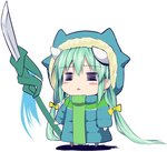 1girl =_= blue_jacket bow chibi fate/grand_order fate_(series) green_hair hair_bow hood hoodie horns jacket kiyohime_(fate/grand_order) long_hair long_sleeves polearm sen_(astronomy) simple_background solo triangle_mouth weapon white_background yellow_bow