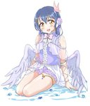 1girl absurdres angel_wings bangs bare_shoulders blue_hair blush butterfly_hair_ornament commentary_request dress eyebrows_visible_through_hair feathered_wings flower full_body hair_between_eyes hair_flower hair_ornament hairclip highres long_hair looking_at_viewer love_live! love_live!_school_idol_project microphone open_mouth shorts simple_background sitting smile solo sonoda_umi tetopetesone white_background wings x_hair_ornament yellow_eyes yokozuwari