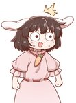1girl animal_ears blush brown_eyes brown_hair bunny_ears carrot carrot_necklace clenched_hands dress eyebrows_visible_through_hair hair_between_eyes inaba_tewi open_mouth pink_dress poronegi puffy_short_sleeves puffy_sleeves short_hair short_sleeves simple_background solo surprised sweat sweatdrop touhou white_background wide-eyed