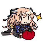 1girl 90mm_single_high-angle_gun_mount bamomon black_gloves black_legwear black_skirt blue_shirt breasts commentary_request crossed_legs drink drinking_straw food full_body glass gloves hair_ornament hamburger johnston_(kantai_collection) kantai_collection light_brown_hair long_hair lowres lying medium_breasts off_shoulder on_side oversized_object parody pleated_skirt sailor_collar school_uniform serafuku shirt simple_background single_glove sitting skirt solo sparkle style_parody thighhighs tomato twintails us_medal_of_honor white_background |_|