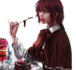 1girl artist_name blueberry bow bowtie brown_bow brown_hair buttons cake cape chocolate_cake dessert eating food food_in_mouth fork fruit highres holding holding_fork ice_cream long_sleeves looking_at_viewer medium_hair okazaki_yumemi parfait pinky_out raspberry realistic red_eyes red_hair saliva simple_background strawberry touhou touhou_(pc-98) whipped_cream white_background yuriya_(riyuclock_19)