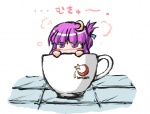1girl crescent crescent_hair_ornament cup fechirin hair_ornament in_container in_cup minigirl mukyuu patchouli_knowledge purple_eyes purple_hair solo teacup touhou