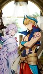 2boys arch blonde_hair cloak commentary craft_essence crossed_arms doorway fate/grand_order fate_(series) gauntlets gilgamesh gilgamesh_(caster)_(fate) hamatomo_rie lavender_hair looking_at_viewer looking_back merlin_(fate) multiple_boys official_art purple_eyes red_eyes shoulder_tattoo staff tattoo ufotable