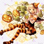 1girl :d ao_no_exorcist ascot blonde_hair breasts capelet cleavage collarbone detached_collar diagonal_stripes elbow_gloves familiar gloves green_eyes hairband high_heels jack-o'-lantern kaji_o_toranai looking_at_viewer moriyama_shiemi nii_(ao_no_exorcist) open_mouth plant pumpkin shoes skirt small_breasts smile sparkle star striped striped_background striped_legwear thighhighs twitter_username vines white_gloves