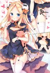 1girl abigail_williams_(fate/grand_order) alternate_costume bangs black_bow black_dress black_panties blonde_hair blue_eyes blush bow breasts bug bun_cover butterfly china_dress chinese_clothes cleavage_cutout collarbone commentary_request double_bun dress fate/grand_order fate_(series) forehead garter_straps hair_bow highres hips holding holding_stuffed_animal index_finger_raised insect long_hair looking_at_viewer masayo_(gin_no_ame) open_mouth orange_bow panties parted_bangs polka_dot polka_dot_bow puffy_sleeves side-tie_panties simple_background small_breasts stuffed_animal stuffed_toy teddy_bear thighhighs thighs underwear white_background white_legwear wrist_cuffs