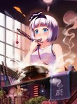 ! 1girl alternate_costume bangs bare_arms bare_shoulders black_hairband black_ribbon blue_eyes blunt_bangs blush bottle breasts casual check_translation chopsticks collarbone cooking cup food g.h_(gogetsu) hair_ribbon hairband hand_up holding holding_spoon indoors kitchen_knife konpaku_youmu konpaku_youmu_(ghost) meat medium_breasts partially_translated pot ribbon salad short_hair silver_hair solo spoon steam swastika sweat sword tank_top tassel tasting tongue tongue_out touhou towel translation_request upper_body weapon window