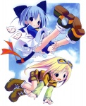 2girls :d animal_ears bangs between_legs black_eyes blue_eyes blue_hair blue_shirt blue_sky blush boots brown_footwear cat_ears cat_tail cloud copyright_request d: detached_wings dress eyebrows_visible_through_hair flying frills full_body goggles goggles_on_head hand_between_legs highres long_hair multiple_girls open_mouth panties pantyshot pop red_ribbon ribbon shirt shoes short_hair short_over_long_sleeves shorts sky smile socks tail tail_ribbon turtleneck underwear upskirt very_long_hair white_legwear white_panties white_wings wings
