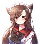 1girl :/ alternate_costume animal_ears black_bow black_neckwear bow bowtie breasts brown_hair closed_mouth commentary_request enmaided frilled_shirt_collar frills gem highres imaizumi_kagerou long_hair maid maid_headdress medium_breasts pudding_(skymint_028) purple_eyes red_eyes sidelocks simple_background solo straight_hair touhou upper_body white_background wolf_ears wolf_girl