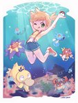 1girl :p air_bubble algae arm_behind_head arm_up blonde_hair blue_shorts border bubble commentary coral crop_top freediving gen_1_pokemon green_eyes highres holding holding_poke_ball horsea kasumi_(pokemon) krabby light_rays magikarp midriff one_eye_closed poke_ball poke_ball_(generic) pokemon pokemon_(anime) pokemon_(classic_anime) pokemon_(creature) psyduck red_footwear sarah_dandh shellder shirt shoes short_hair short_shorts shorts side_ponytail signature sneakers starmie suspender_shorts suspenders swimming symbol_commentary tank_top tentacool tongue tongue_out underwater white_border yellow_shirt