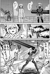 1boy 2girls absurdres admiral_(kantai_collection) aircraft_carrier_oni black_legwear blush braided_ponytail comic cybernetic_parts explosion flashback glasses gloves greyscale headgear highres kantai_collection long_hair military military_uniform minarai monochrome multiple_girls naval_uniform pale_skin shinkaisei-kan side_ponytail sidelocks supply_depot_hime sweatdrop sword thighhighs translation_request uniform weapon white_hair