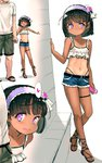 1boy 1girl :p absurdres age_difference black_hair commentary_request covered_nipples crop_top cutoffs dark_skin denim denim_shorts faceless faceless_male hairband head_out_of_frame highleg highleg_panties highres lolita_hairband midriff navel one-piece_tan original panties pink_eyes sandals sasahara_yuuki shirt short_hair short_shorts shorts smile tan tanline thigh_strap tongue tongue_out underwear white_shirt