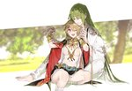1girl 1other 88_(einnimnech) ;d absurdres androgynous bangs barefoot blonde_hair bracelet breasts closed_eyes enkidu_(fate/strange_fake) eyebrows_visible_through_hair fate/grand_order fate/strange_fake fate_(series) genderswap genderswap_(mtf) gilgamesh green_hair highres holding_hands jewelry long_hair navel necklace one_eye_closed open_mouth red_eyes sitting smile toenails very_long_hair
