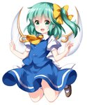 1girl :d arms_up bangs blue_skirt blue_vest brown_footwear cravat daiyousei eyebrows_visible_through_hair fairy_wings green_eyes green_hair hair_between_eyes hair_ribbon highres jumping kneehighs leg_lift looking_at_viewer mary_janes open_hands open_mouth puffy_short_sleeves puffy_sleeves ribbon ruu_(tksymkw) shirt shoes short_hair short_sleeves side_ponytail simple_background skirt skirt_set smile solo touhou vest white_background white_legwear white_shirt wings yellow_neckwear yellow_ribbon