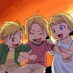 1girl 2boys :d alphonse_elric blonde_hair blue_eyes child closed_eyes dress edward_elric fullmetal_alchemist green_shirt hand_on_another's_shoulder happy locked_arms looking_at_another lowres multiple_boys nakamura open_mouth pants red_shirt shirt short_hair siblings sky smile sunset winry_rockbell yellow_eyes