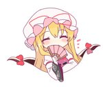 1girl ^_^ bangs blonde_hair blush_stickers bow breasts chibi closed_eyes commentary_request dress eyebrows_visible_through_hair facing_viewer fan folding_fan gap hand_up hat hat_ribbon holding holding_fan juliet_sleeves long_hair long_sleeves medium_breasts mob_cap puffy_sleeves red_bow red_ribbon ribbon shinoba simple_background smile solo tabard touhou upper_body very_long_hair white_background white_dress white_headwear wide_sleeves yakumo_yukari