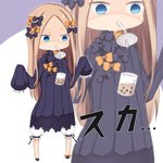1girl abigail_williams_(fate/grand_order) bangs bendy_straw black_bow black_dress black_footwear blonde_hair bloomers blue_eyes bow bubble_tea bubble_tea_challenge bug butterfly chibi commentary cup disposable_cup dress drinking_straw empty_eyes failure fate/grand_order fate_(series) forehead hair_bow hands_up highres insect long_hair long_sleeves mouth_hold multiple_bows multiple_hair_bows no_hat no_headwear orange_bow parted_bangs polka_dot polka_dot_bow purple_background shoes sleeves_past_fingers sleeves_past_wrists solo su_guryu translated two-tone_background underwear very_long_hair white_background white_bloomers zoom_layer