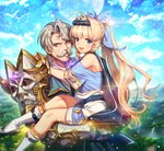 2boys :d ahoge armor bangs blonde_hair blue_bow blue_eyes blue_sky blunt_bangs bow braid brown_eyes carrying charles_(epic7) crown day epic7 eyebrows_visible_through_hair facial_hair grey_hair hair_bow long_hair male_focus multiple_boys mustache open_mouth outdoors ponytail prince_aither short_sleeves sky smile standing twin_braids very_long_hair white_footwear