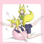 2girls ? absurdres animal_ears ass backpack bag ball bare_arms bare_shoulders barefoot bike_shorts blonde_hair blush breasts child cleavage commentary doitsuken exercise_ball eyebrows_visible_through_hair fang_out fox_daughter_(doitsuken) fox_ears fox_tail fox_wife_(doitsuken) green_eyes green_legwear highres jewelry looking_at_another medium_breasts mother_and_daughter multiple_girls original pink_eyes plantar_flexion reaching ring school_uniform short_hair skirt socks standing stretch stretched_limb tail tank_top trembling wedding_band white_background white_skirt