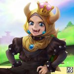 1girl :3 black_collar blonde_hair bowsette bracelet collar commentary crown earrings eyebrows fangs highres hijab jamrolypoly jewelry looking_at_viewer mario_(series) new_super_mario_bros._u_deluxe open_mouth smile solo spiked_armlet spiked_bracelet spiked_collar spiked_shell spikes super_crown turtle_shell what