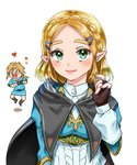 1boy 1girl >_< aqua_eyes bandaged_arm bandages black_cape blonde_hair blue_shirt blue_tunic blush boots braid brown_footwear brown_gloves cape chibi commentary_request fingerless_gloves forehead gloves hair_ornament hairclip hand_up heart hood hooded_cape juliet_sleeves link long_sleeves looking_at_viewer low_ponytail open_mouth pants pointy_ears princess_zelda puffy_sleeves shadow shirt short_hair short_sleeves simple_background smile square_mouth the_legend_of_zelda the_legend_of_zelda:_breath_of_the_wild the_legend_of_zelda:_breath_of_the_wild_2 triforce tunic upper_body wasabi_(legemd) white_background white_pants